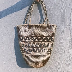 Vintage 70's Handwoven Straw Bag